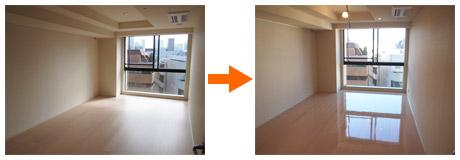 東京のマンションにUVフロアコーティング