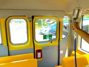 幼稚園バスに光触媒コーティング
