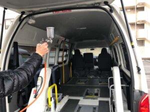 光触媒コーティングを福祉車両に施工